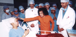 Swami blessing Neuro Patient